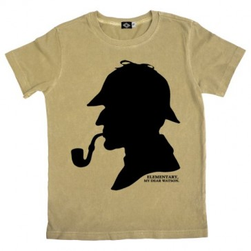 Hank Player 'Sherlock Holmes' Boy's T-Shirt (10, Vintage Khaki)