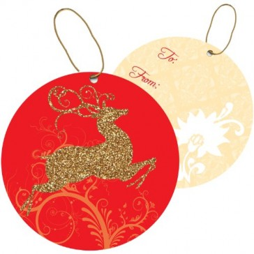 Jillson Roberts Christmas Sparkle String-Tie Gift Tags, Fancy Prancer Gold, 24-Count (XTS627)
