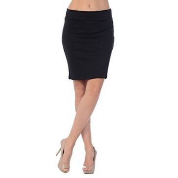 Jubilee Couture Women's Ponte Roma Mini Pencil Skirt (Small, Black)