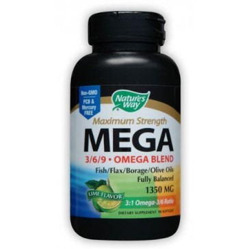 Nature's Way Mega 3/6/9. Omega Blend, Lime Flavor 1350mg, 90 Softgels
