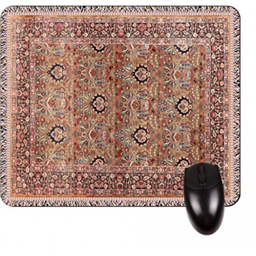 Antique Style Kerman Persian Patterned Rug Print Design TM -Square Mouse pad - Stylish, Durable Office Accessory and Gift Made in the USA