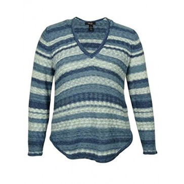 Style & Co Women's Striped Marled V-Neck Sweater (Blue Combo, 0X)