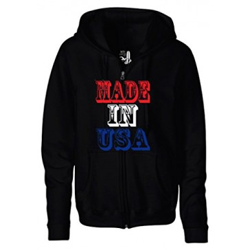 Men's American Flag Made In The USA Zipper Hoodie Hooded Sweater Small Black