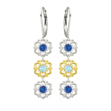 3 Dangle Flower Earrings Made of .925 Sterling Silver with 24K Yellow Gold over .925 Sterling Silver Designed by Lucia Costin with 6 Petal Flowers, Light Blue and Blue Swarovski Crystals; Handmade in USA