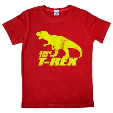 Hank Player 'Save The T-Rex' Boy's T-Shirt (5, True Red)
