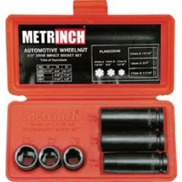 "6 Pc Metrinch 1/2"" Drive Auto Wheelnut Impact Socket Set"