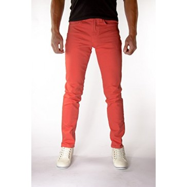 Bright Coral Skinny Jeans Men's Made in USA Premium 98% Cotton 2% Spandex (28x30)