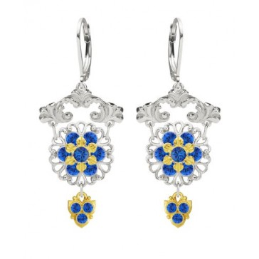Lucia Costin Chandelier Earrings Made of .925 Sterling Silver Adorned with Blue Swarovski Crystals, 24K Yellow Gold over .925 Sterling Silver 6 Petal Delicate Central Flower and Cute Charms; Handmade in USA