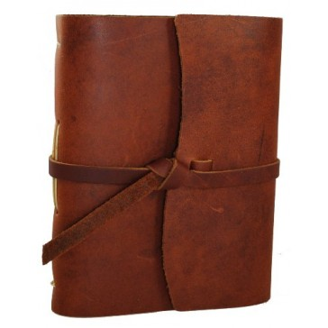 Rustico's Parley's Leather Journals to Write in, Hand Crafted Leather Softcover Writing Notebook With Wrap, Journal Notebook With 96 Rough Cut Pages, Antique and Vintage Look (Saddle)