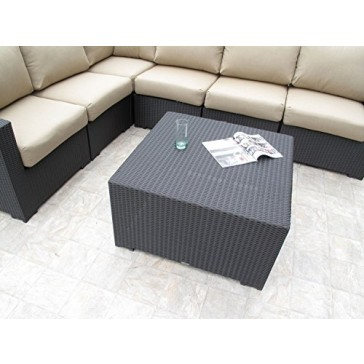 Outdoor Patio Resin Wicker Furniture Hudson Sectional 7PC Set Made in USA Cushions (Choice of 12 Sunbrella Fabrics)