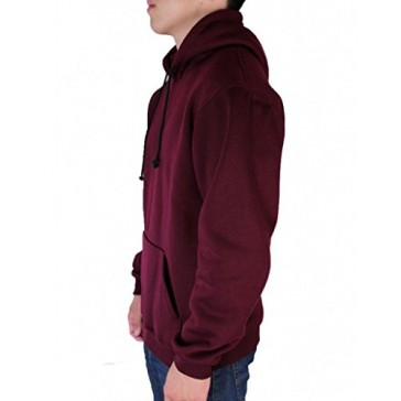 Calison Men's Unisex Heavyweight Long Sleeve Pull Over Fleece Hoodie Made in USA X-Large Burgundy