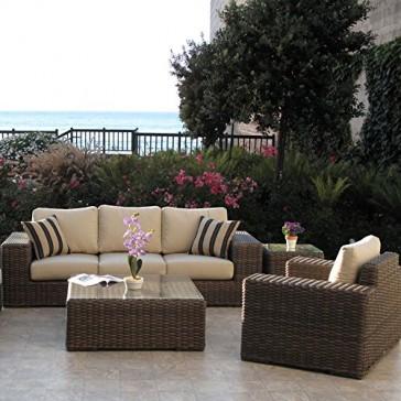 Outdoor Patio Resin Wicker Furniture Gerona Sofa 4PC Set Made in USA Sunbrella Cushions Fully Assembled