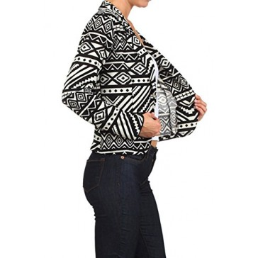 (Plus Size) Aztec Print buttoned blazer with dual lapels Jacket (MADE IN USA)