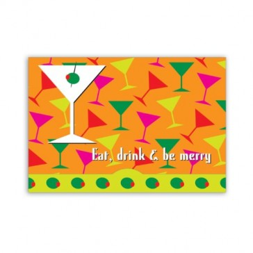 Jillson Roberts Gift Card Holders, Eat, Drink and be Merry, Festive Martinis, 6-Count (GCP024)