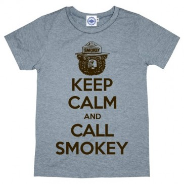 Hank Player 'Keep Calm & Call Smokey Bear' Kid's T-Shirt (8, Heather Grey)