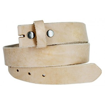 "Kids Hand Crafted Made In USA Heavyweight Natural One Piece Cowhide Leather Belt Strap With Slot Hole (1 1/4"" Or 32MM wide) Size14"