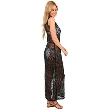 Ingear Long Mesh Maxi Dress Summer Casual Fashion Crochet Beach Cover Up (Small, Black)