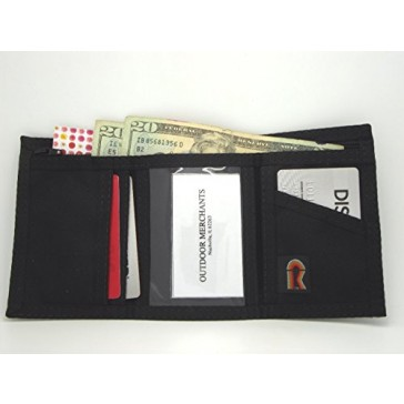 Men's Trifold Black Nylon Wallet - Quiet Opening - No Hook & Loop - USA