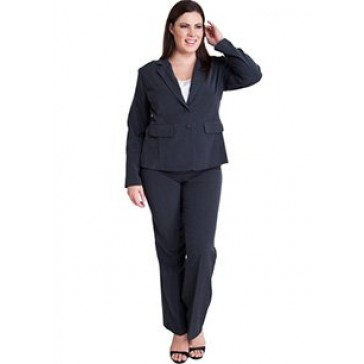 Woman Charcoal Plus Size Long Sleeve 2 Button Blazer Straight Leg Pant Suit Set