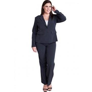 Woman Charcoal Plus Size Long Sleeve 2 Button Blazer Straight Leg Pant Suit Set