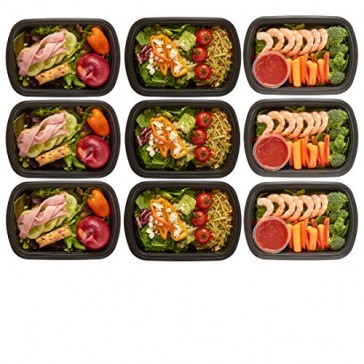 DuraHome - Meal Prep Containers with Lids, 28oz. BPA-Free, 10-Pack Microwaveable Reusable Plastic Food Storage Containers, 1 Compartment