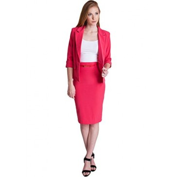 Ladies Fuchsia One Button Cuffed Blazer & Pencil Skirt With Belt Set