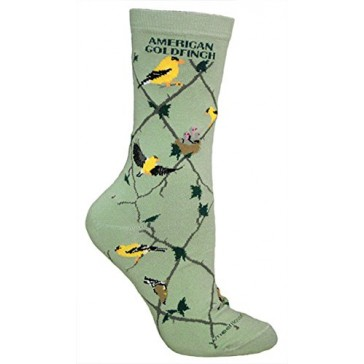American Goldfinch Mint Green Ultra Lightweight Cotton Crew Socks - Made in USA