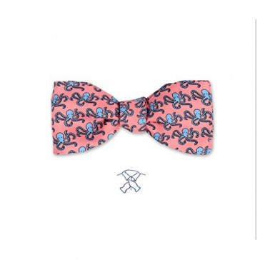 Josh Bach Mens Octopus Self Tie Silk Bow Tie in Pink, Made in USA