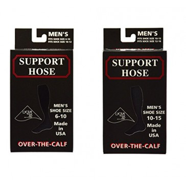 Sierra Socks Men's OTC Nylon Support Hose Compression Travel Socks Made in USA (XL, Black)