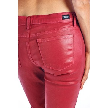 Angry Rabbit Womens Coating Color Skinny Designers Premium Denim Jeans Made in USA-25,Biking Red