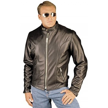 Classic Leather Motorcycle Jacket Made in USA by Reed (Medium, BLACK)