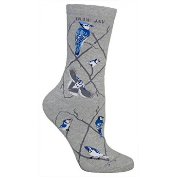 Blue Jay Gray Ultra Lightweight Cotton Crew Socks (One Size Fits Most) Made in USA