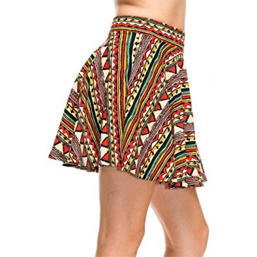 Simlu Women's Basic Flared Short Mini Skater Skirt Stretch Waist, Elastic Waistband