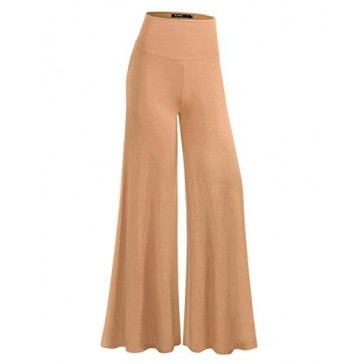 TWINTH Capri Pants Plus Size Long Leg Wide Pants Chic BEIGE S