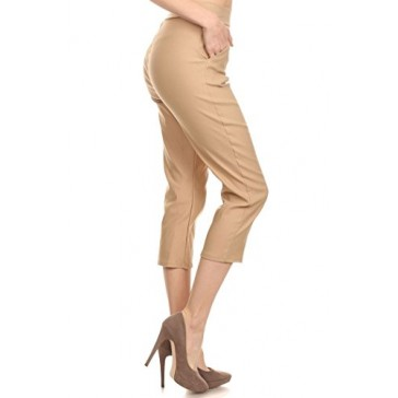Women's Stretch Millennium Slim Style Crop Pants. MADE IN USA (Small, Beige)
