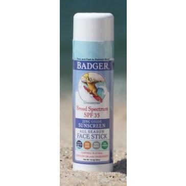 Badger SPF 35 Plus Sunscreen All Season Face Stick Unscented -- 0.65 oz