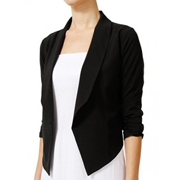 NE PEOPLE Women's Big High Lapel Collar Open Blazer Jacket