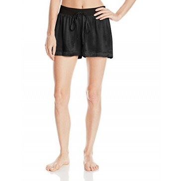 PJ Harlow Women's Mikel Satin Boxer Short With Draw String,Black,X-Small