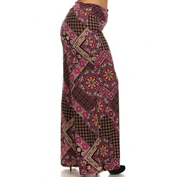 (Plus Size) Women's Printed High Waist Wide Leg Palazzo Pants (MADE IN U.S.A)