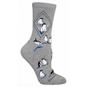 Penguins Gray Ultra Lightweight Cotton Crew Socks (One Size Fits Most) Made in USA