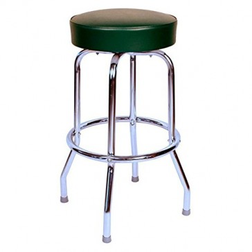 "Budget Bar Stools 0-1950GRN Swivel Bar Stool with Chrome Frame, 16"" L x 16"" W x 30"" H, Green"