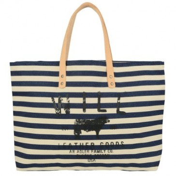 Will Leather Goods Nautical Stripe Carry All Tote - Navy Blue