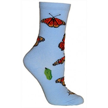 Monarch Butterflies Light Blue Ultra Lightweight Cotton Crew Socks - Made in USA