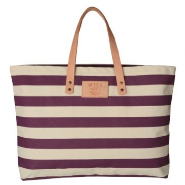 Will Leather Goods Nautical Stripe Carry All Tote - Plum
