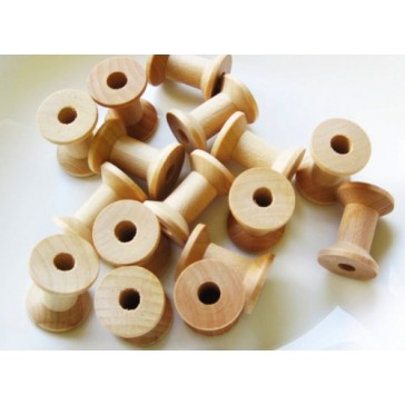 MyCraftSupplies Unfinished Wood Spools 1 1/8 x 7/8 inch Set of 25 Made in the USA