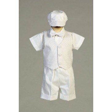 Poly Cotton Christening Short Set with Basket Weave Vest and Hat (18-24 Month (23-27 lbs))