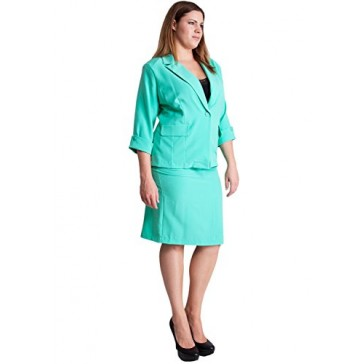 Ladies Mint Plus Size Button Cuff 3/4 Sleeve Blazer and Pencil Belt Skirt Set