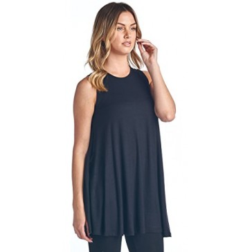Popana Lose Fit Long Tunic Tank Top Small in Black - Made In USA