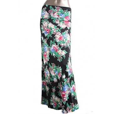 2LUV Women's Multicolored Mix Print Floor Length Maxi Skirt Black & Green S