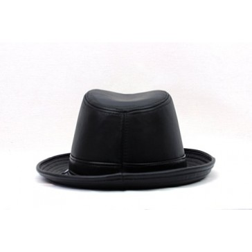 Men's Genuine Leather Fedora Hat Made in USA-Black-XL
